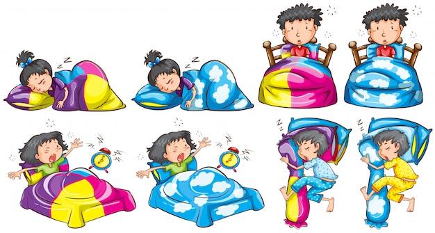 Schlafenszeit für jungen und mädchen Kostenlosen Vektoren
