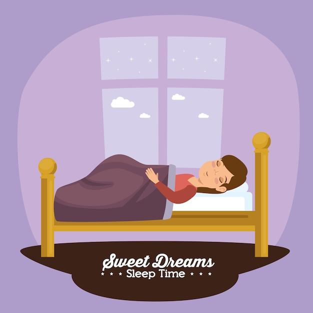 Schlafenszeitikone der süßen träume Premium Vektoren