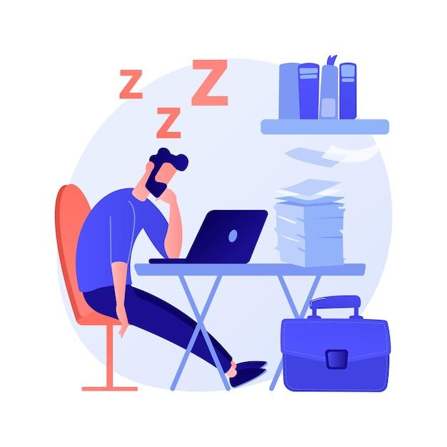 Schlafentzug abstrakte konzeptvektorillustration. schlaflosigkeitssymptom, schlafverlust, entzugsproblem, psychische gesundheit, ursache und behandlung, klinische diagnose, schlaflosigkeit abstrakte metapher. Kostenlosen Vektoren