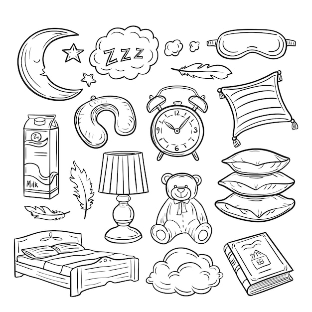 Schlafkritzelset. schlafkissenfedern träumen zzz nachtträumen. hand gezeichnete sammlung zur schlafenszeit Premium Vektoren