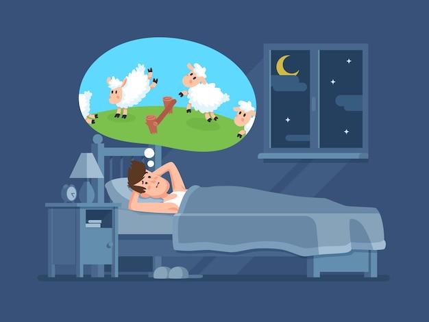 Schlafloser mann im bett, der versucht einzuschlafen, springende schafe zählend. zählen sie schafe für schlaflosigkeitskarikatur-vektorkonzept Premium Vektoren