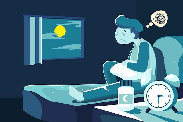 Schlaflosigkeit illustrationskonzept Kostenlosen Vektoren
