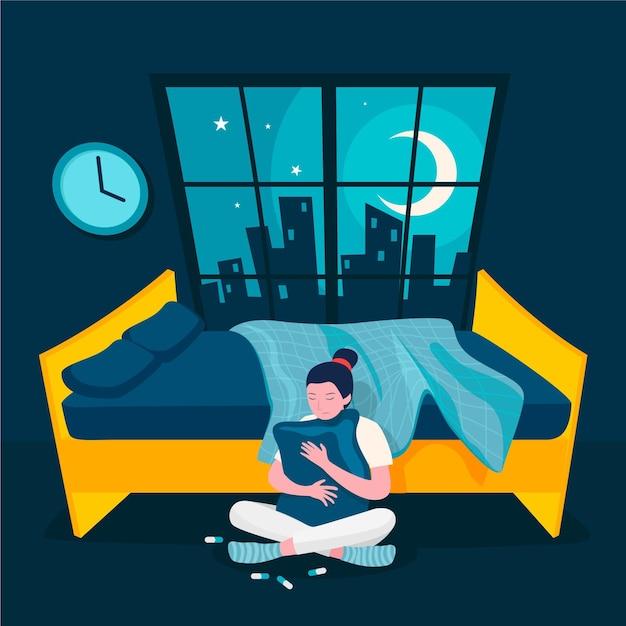 Schlaflosigkeit konzeptillustration Premium Vektoren