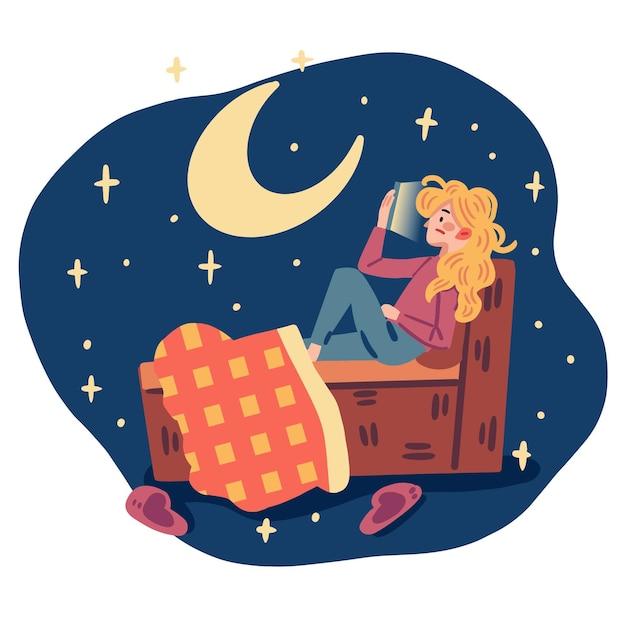 Schlaflosigkeit konzeptillustration Kostenlosen Vektoren