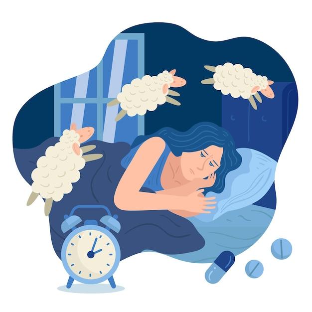 Schlaflosigkeitskonzept mit frau und schaf Kostenlosen Vektoren