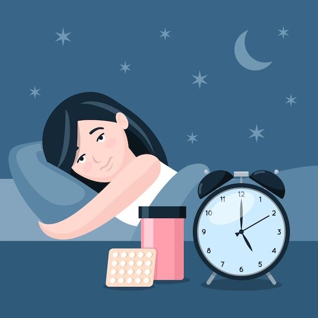 Schlaflosigkeitskonzept mit frau und uhr Kostenlosen Vektoren