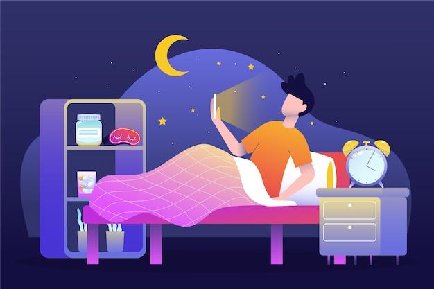 Schlaflosigkeitskonzept mit mann und telefon Premium Vektoren