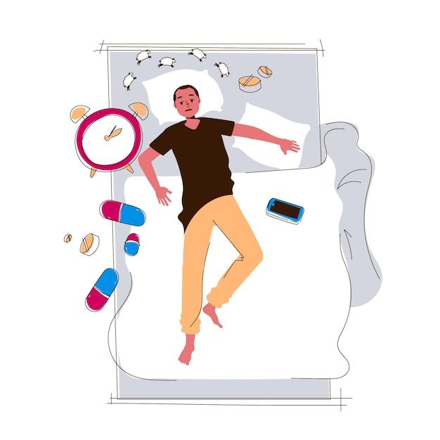 Schlaflosigkeitskonzept mit mann Premium Vektoren
