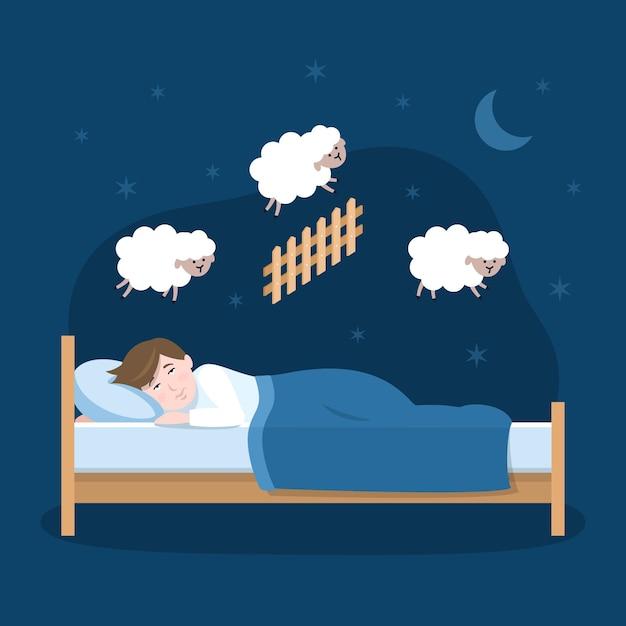 Schlaflosigkeitskonzept mit mann Kostenlosen Vektoren
