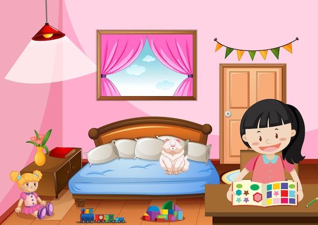 Schlafzimmer des mädchens im rosa farbthema mit einem mädchen Kostenlosen Vektoren