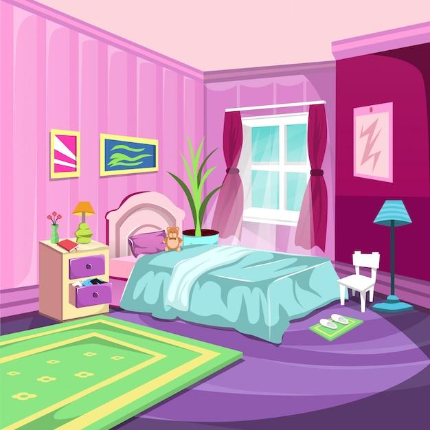 Schlafzimmer innenraum mit großem fenster und rosafarbenem vorhang Premium Vektoren