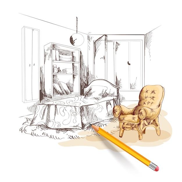 Schlafzimmer skizze interieur Kostenlosen Vektoren