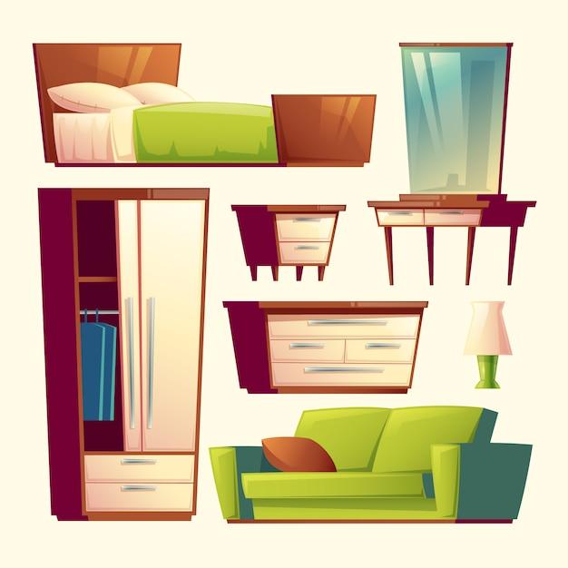 Schlafzimmer, Wohnzimmer Inneneinrichtung Cartoon Objekte gesetzt ...