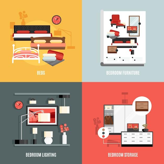 Schlafzimmermöbel icons set Kostenlosen Vektoren
