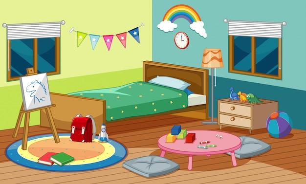 Schlafzimmerszene mit bett und vielen spielsachen im zimmer Kostenlosen Vektoren