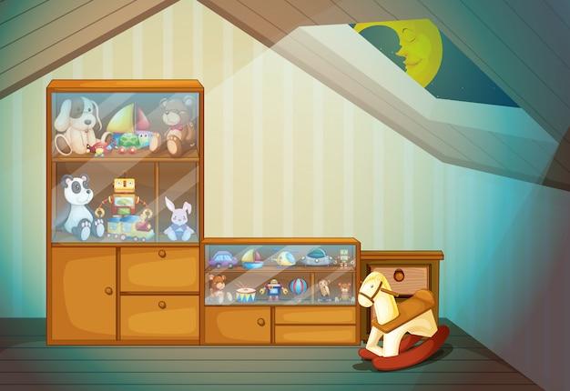 Schlafzimmerszene mit spielwarenillustration Kostenlosen Vektoren