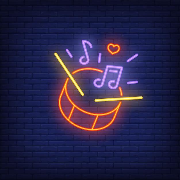 Schlagzeug leuchtreklame Kostenlosen Vektoren