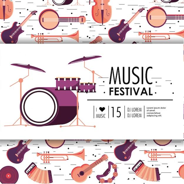 Schlagzeug und instrumente zum musikfestival Premium Vektoren