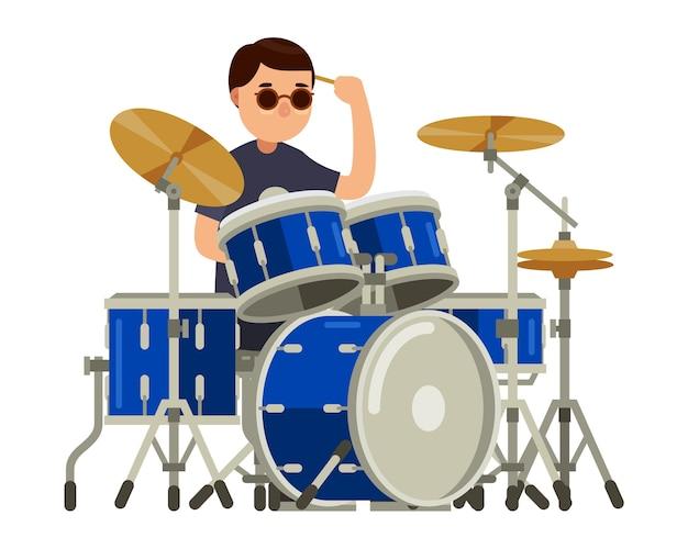 Schlagzeugercharakter mit gesetzter vektorillustration der trommel Premium Vektoren