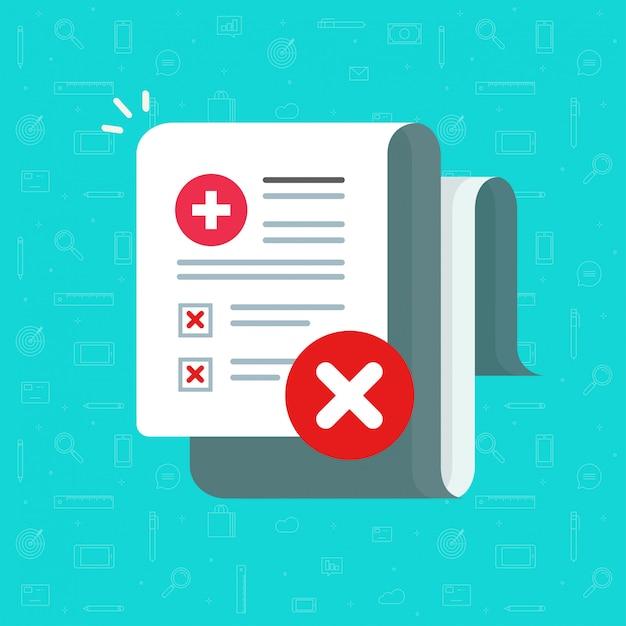 Schlechte medizinische gesundheitstestergebnisse auf papierverordnungsdokument oder ungesunder diagnose bilden flache karikaturillustration Premium Vektoren