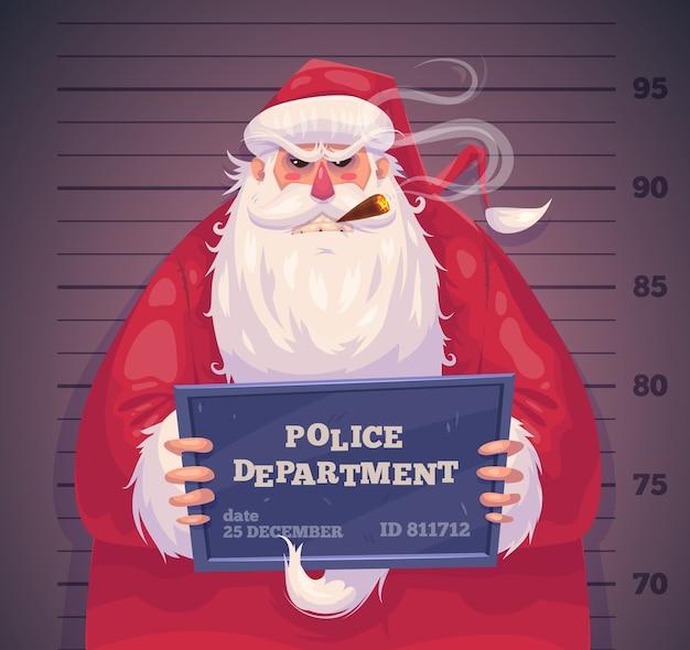 Schlechter weihnachtsmann in der polizeiabteilung. weihnachtsgrußkartenhintergrundplakat. vektorillustration. frohe weihnachten und ein glückliches neues jahr. Premium Vektoren