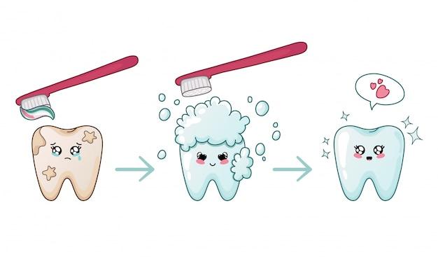 Schlechter zahn, der sauberen kawaii zahn mit der spracheblasen-zahnreinigung glänzt Premium Vektoren