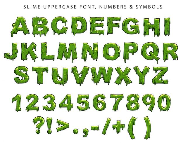 Schleim großbuchstaben, zahlen und symbole Premium Vektoren