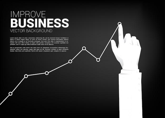 Schließen sie herauf geschäftsmannhandstoß-vorratdiagramm zu höherem. hintergrundkonzept für die herstellung des erfolgs- und wachstumsgeschäfts Premium Vektoren
