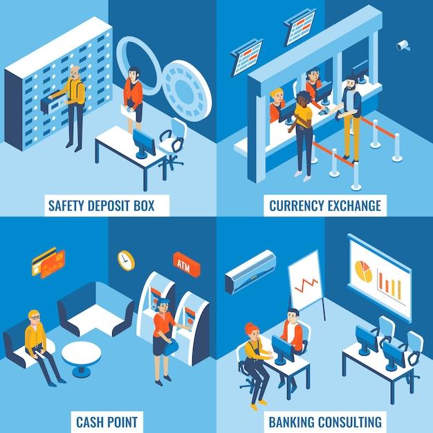 Schließfach, geldwechsel, geldautomat und bankberatungskonzept Premium Vektoren