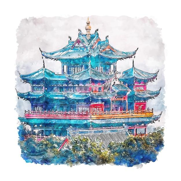 Schloss hangzhou china aquarell skizze hand gezeichnete illustration Premium Vektoren