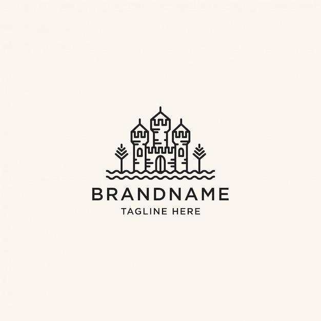Schloss logo design vorlage Premium Vektoren