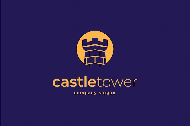 Schloss logo vorlage Premium Vektoren