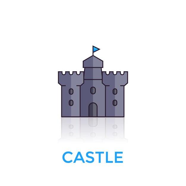 Schloss, mittelalterliche festungsikone auf weiß Premium Vektoren