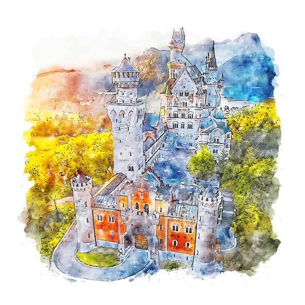 Schloss neuschwanstein deutschland aquarell skizze hand gezeichnete illustration Premium Vektoren