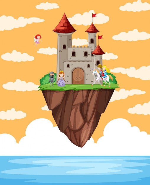 Schloss schwimmt auf der insel szene Kostenlosen Vektoren