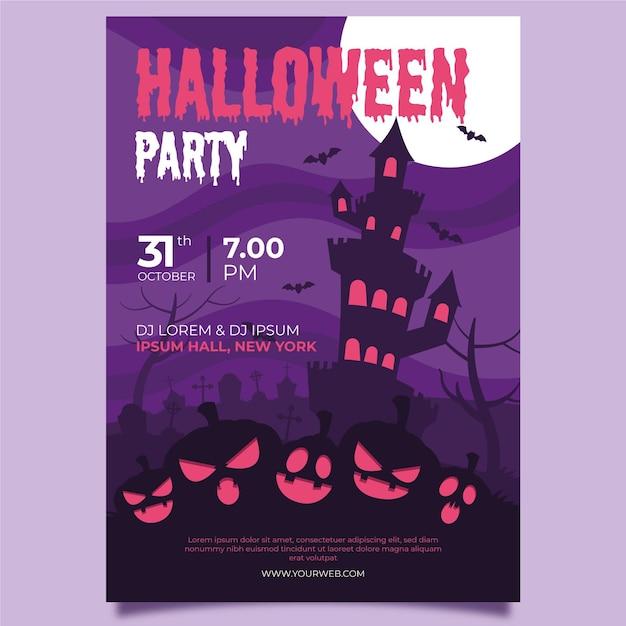 Schloss und kürbisse halloween plakatschablone Kostenlosen Vektoren