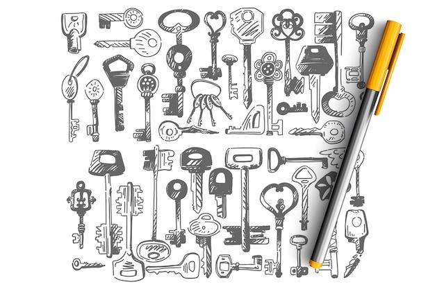 Schlüssel gekritzel gesetzt. sammlung eines kleinen schlüssels unterschiedlicher form zum öffnen von türschlössern lokalisiert auf weiß Premium Vektoren