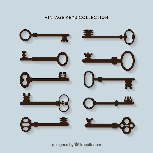 Schlüssel silhouetten vektor pack Kostenlosen Vektoren