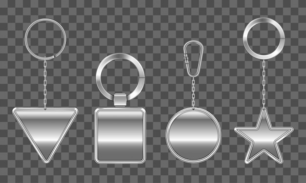 Schlüsselanhänger gesetzt. metall rund, quadratisch, dreieck, stern Kostenlosen Vektoren