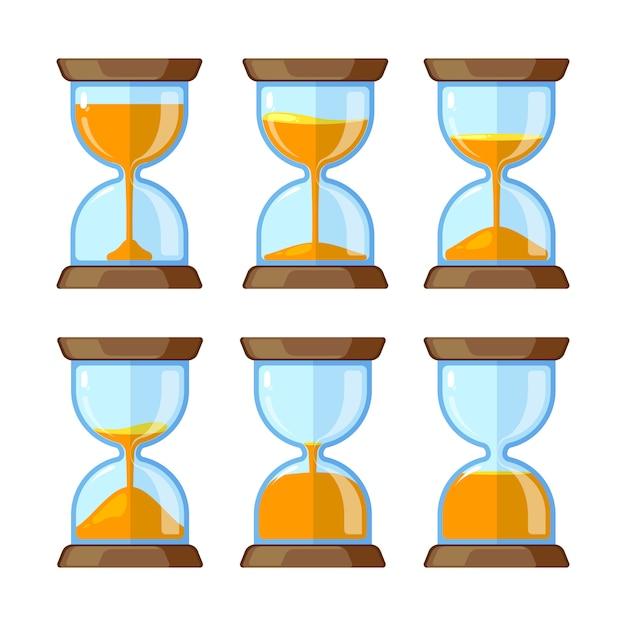 Schlüsselbilder von den sanduhren lokalisiert. vektorgrafiken für die animation. illustration der sanduhrzeit, timer-uhrglas Premium Vektoren