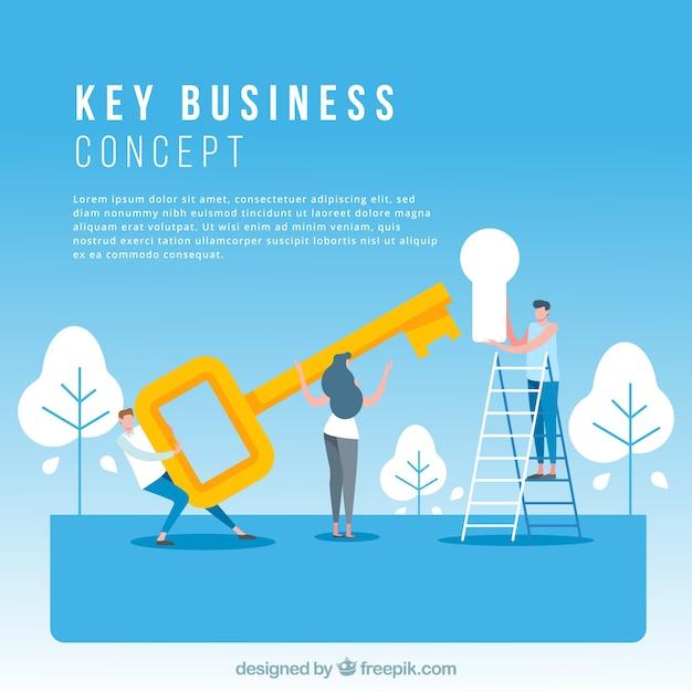 Schlüsselgeschäftskonzept mit flachem design Kostenlosen Vektoren