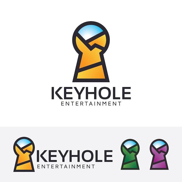 Schlüsselloch-entertainment-logo-vorlage Premium Vektoren