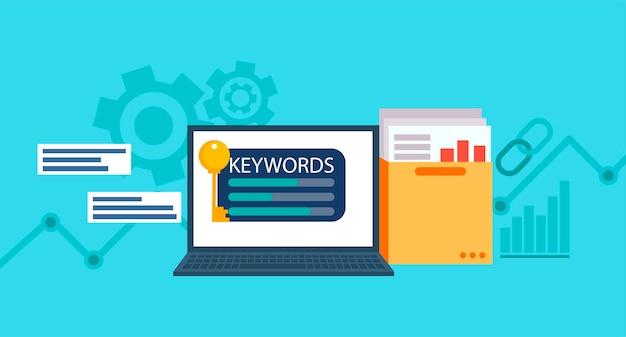 Schlüsselwörter research banner. laptop mit einem ordner mit dokumenten und grafiken und schlüssel. Kostenlosen Vektoren