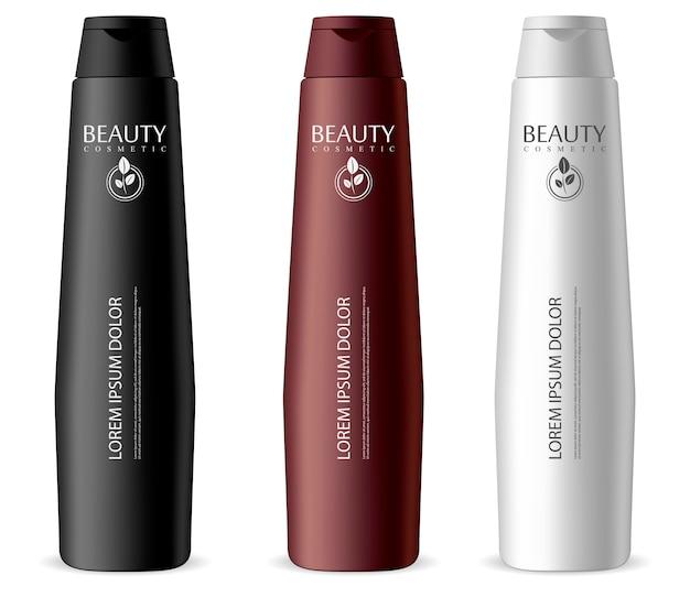 Schmales kosmetikflaschenset. unterschiedliche farbe: schwarze, weiße gläser für shampoo, feuchtigkeitscreme, haarmaske, lotion. Premium Vektoren