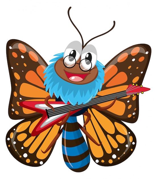 Schmetterling, der e-gitarre spielt Kostenlosen Vektoren