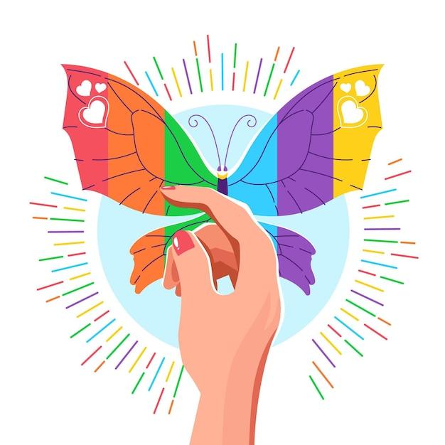 Schmetterling mit lgbt flagge stolz-tageskonzept Kostenlosen Vektoren