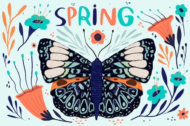 Schmetterling mit offenen flügeln frühling kommt saison Kostenlosen Vektoren
