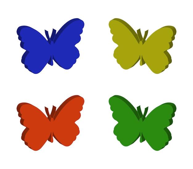 Schmetterlinge gesetzt Premium Vektoren