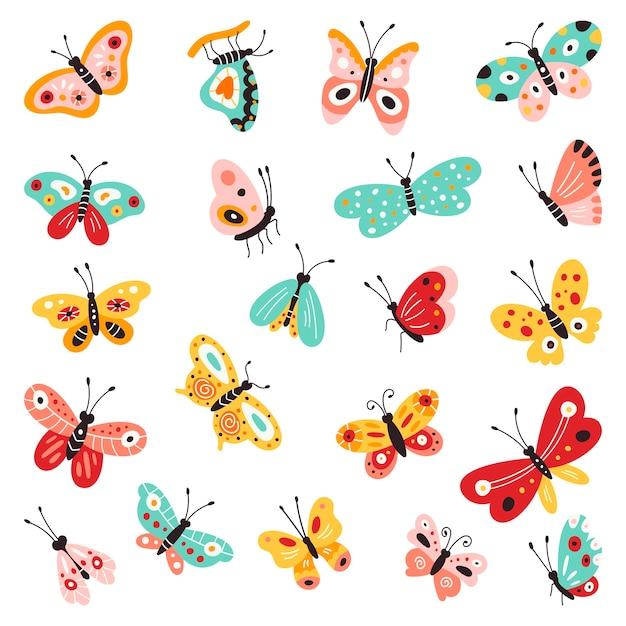 Schmetterlinge, satz hand gezeichnete sammlung auf lokalisiertem weißem hintergrund. s. kreatives flattern, schöne schmetterlinge. Premium Vektoren