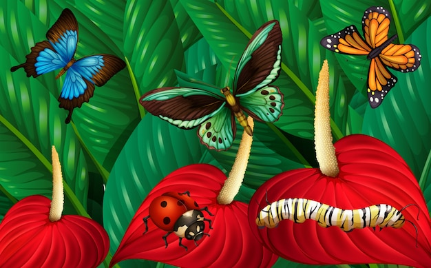 Schmetterlinge und andere insekten im garten Kostenlosen Vektoren